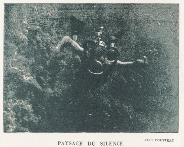 """Image du film """"Paysage du silence"""" de Jacques-Yves Cousteau 1947, retravaillée par Bernard Laire à partir du document d'époque ci dessous"""
