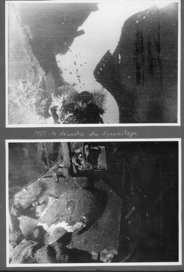 Album photos de Guy de Frondeville. L'épave du Morse dynamitée un an plus tard. Coll. part. Tous droits réservés.