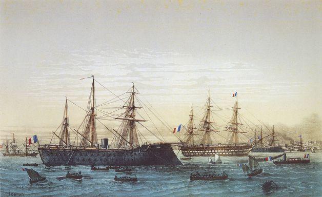 Le Magenta lors d'une visite de Napoléon III à Brest.